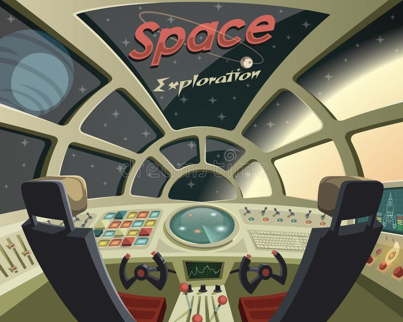 Space Exploration ,view from the spaceship cockpit. Illustration royalty free illustration