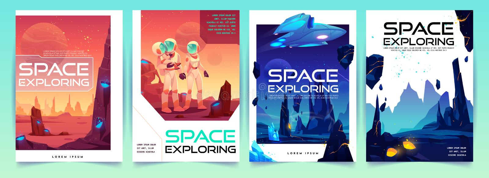 Space exploring banners set with alien landscape stock illustration