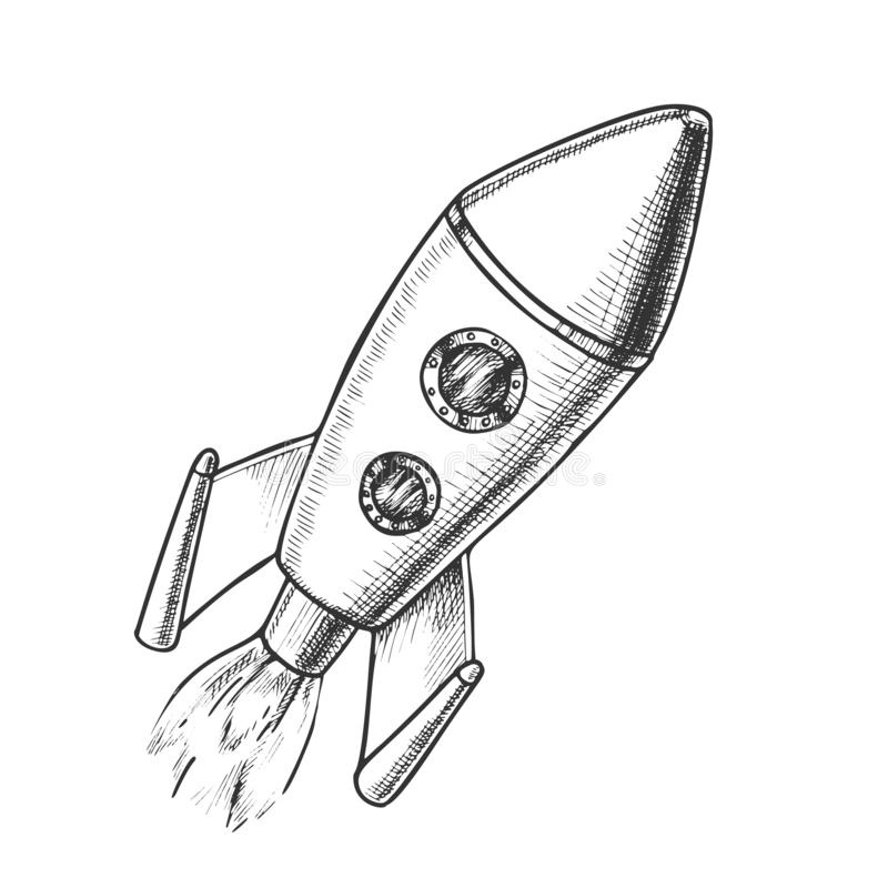 Space Exploring Launch Rocket Monochrome Vector. Flying Astronautic Transport Rocket For Explore Cosmos. Spaceship Galaxy Science Technology Designed In Retro vector illustration