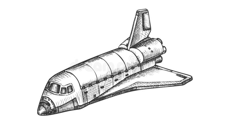 Space Exploring Ship Shuttle Monochrome Vector. Astronautic Aeroballistic Transport Shuttle For Explore Cosmos. Booster Rocket Spaceship Hand Drawn In Vintage royalty free illustration