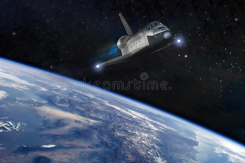 Cosmic galaxy backgrounds with planets and stars stock illustration