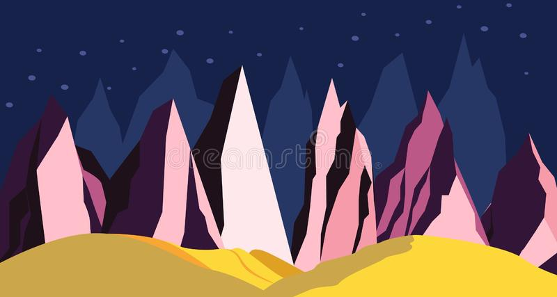 Space landscape mountains on a distant planet royalty free illustration