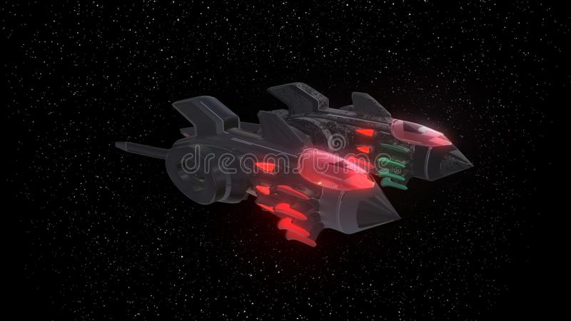 Space Fighter Aircraft of background, 3d rendering. Space Fighter Aircraft of background, 3d render royalty free illustration