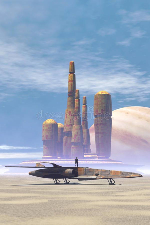 Space fighter and city in a desert planet. 3D render science fiction illustration stock illustration