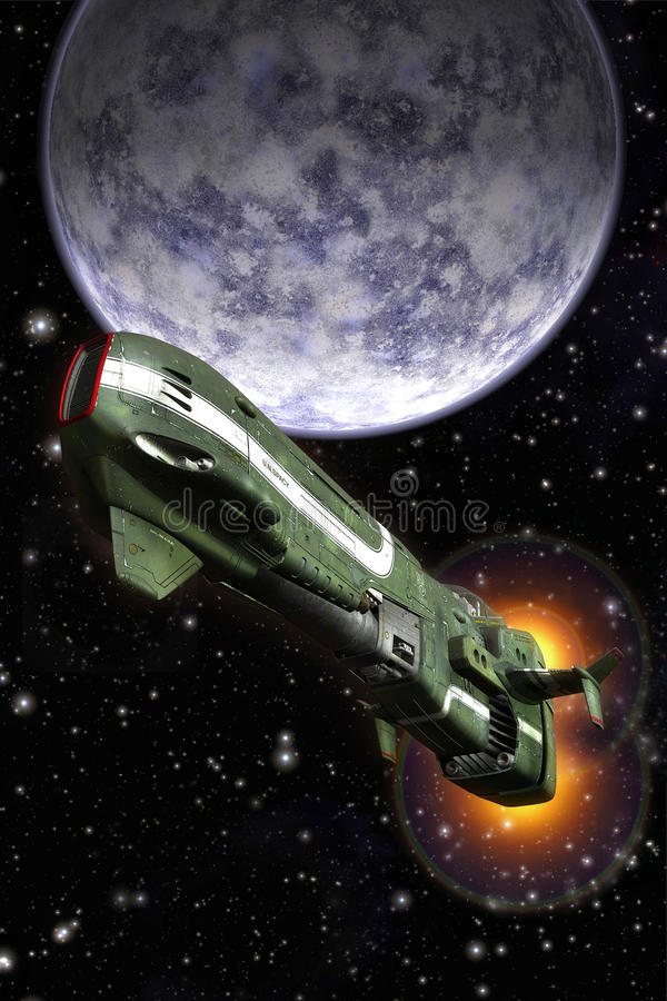Space fighter and planet. 3D render science fiction illustration stock illustration