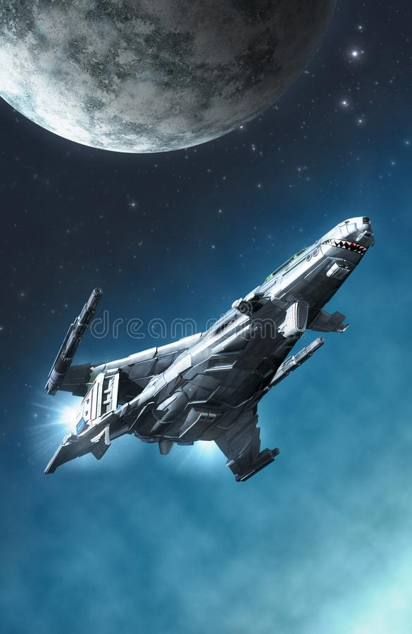 Space fighter spaceship and moon. 3D render science fiction illustration stock illustration