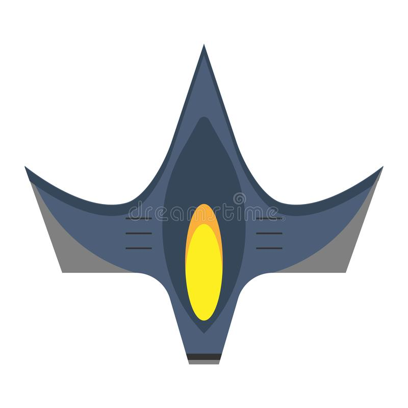 Space fighter top view flat vector icon. Flight transport aerospace combat technology plane.  royalty free illustration