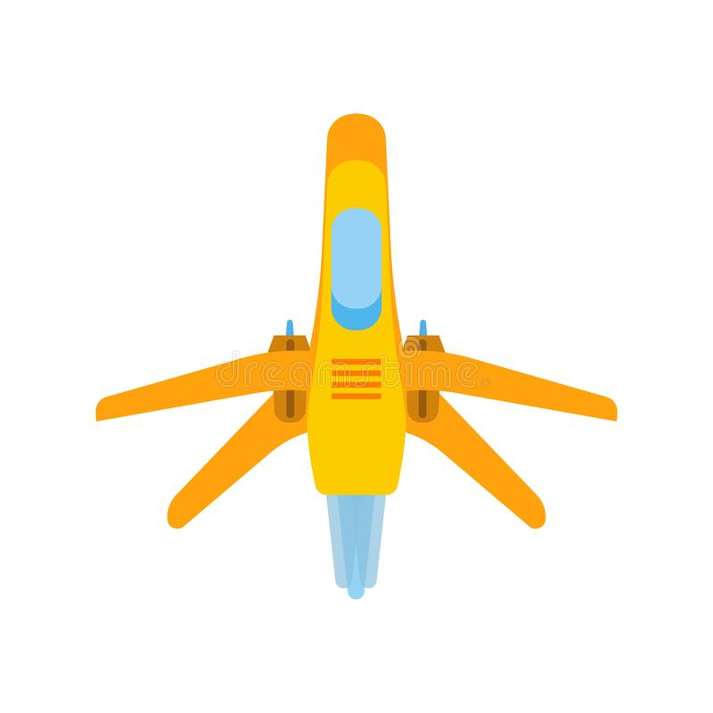 Space fighter vector cartoon war fantasy game. Futuristic rocket military future alien jet. Galaxy shuttle force fiction.  royalty free illustration