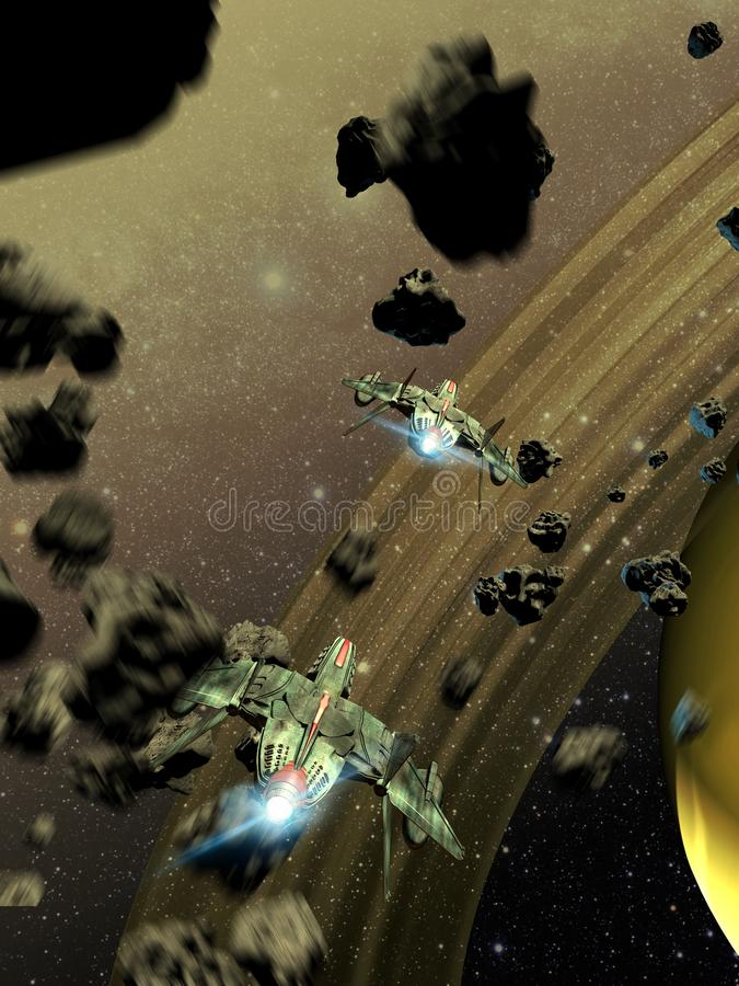 Space fighters crossing an asteroids belt vector illustration