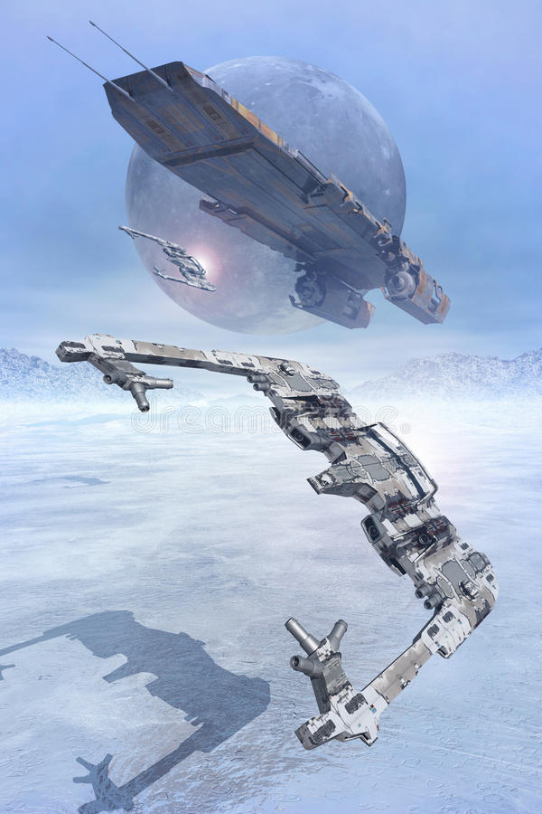 Free Space Fighters Flying Low On Ice Royalty Free Stock Images - 67339739