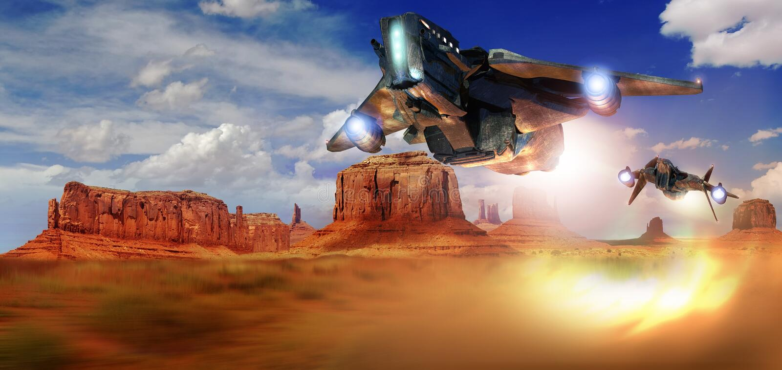 Space fighters pursuit. Twofuturistic space fighters in a battle over Monument Valley royalty free illustration