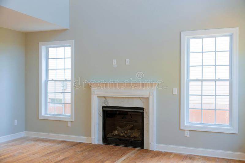 Space with fireplace in room interior new house construction stock photos