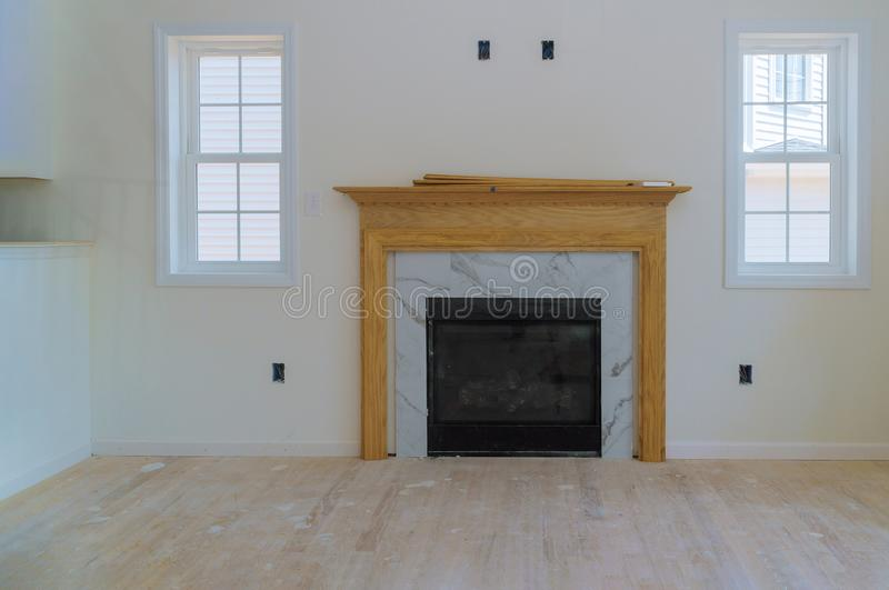 Space with fireplace in room interior new house construction. Space with fireplace in living room interior new house construction, apartment, hall, development stock photography