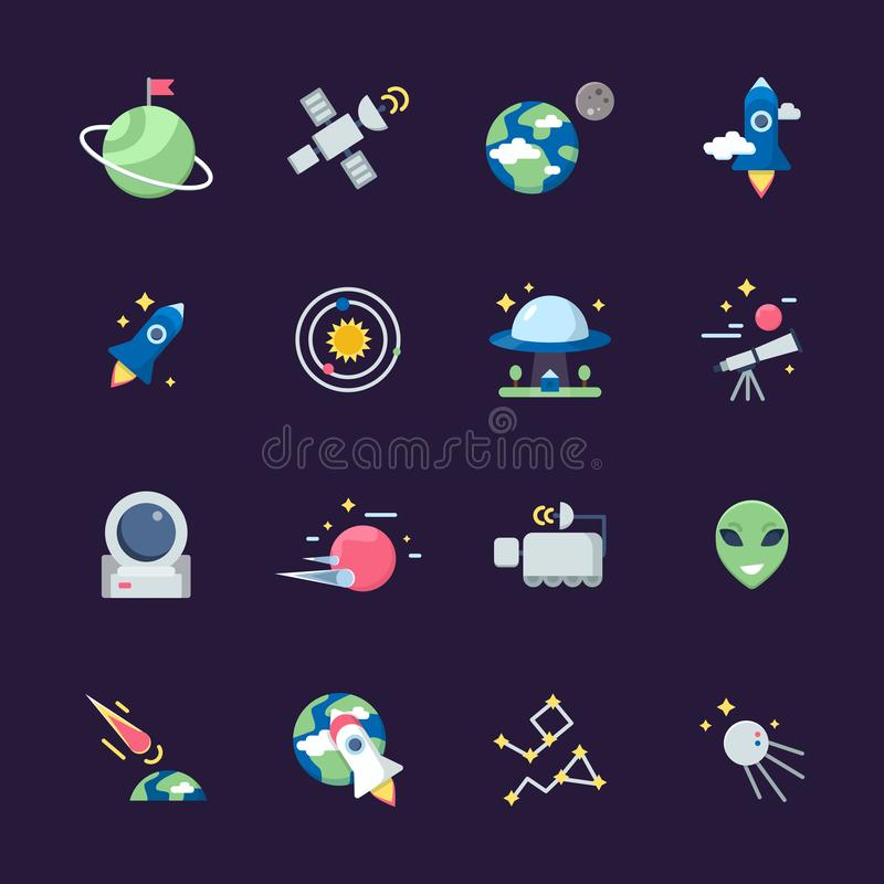 Space flat icons. Telescope satellite spaceship earth sun and planets views from observatory vector illustrations stock illustration