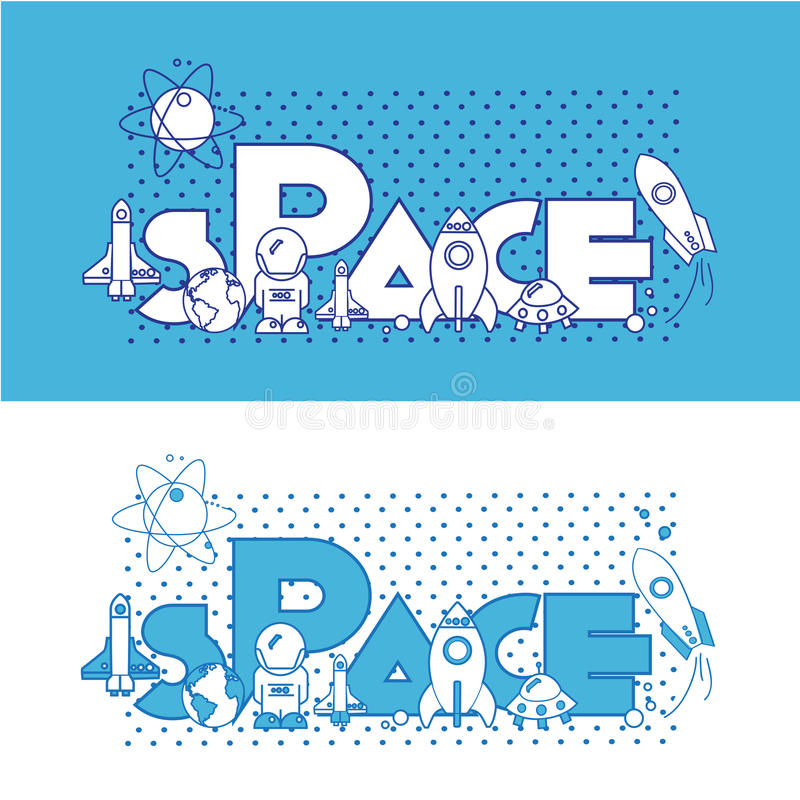Space.Flat Illustration with typographic stock photography