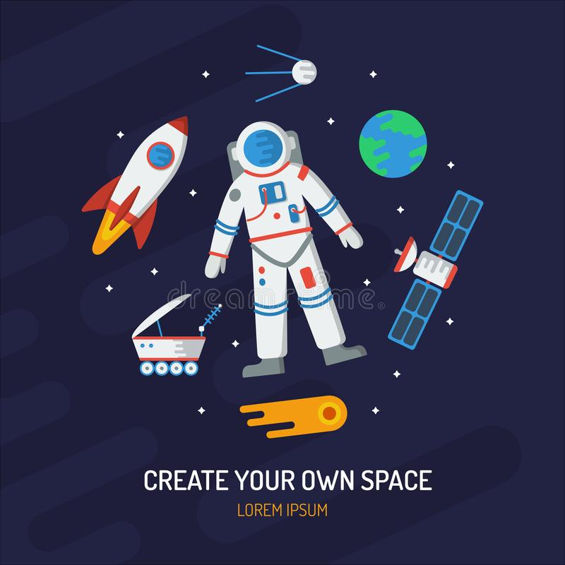Space flat vector card royalty free illustration