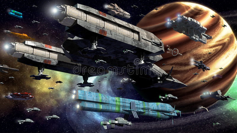 Space fleet stock illustration