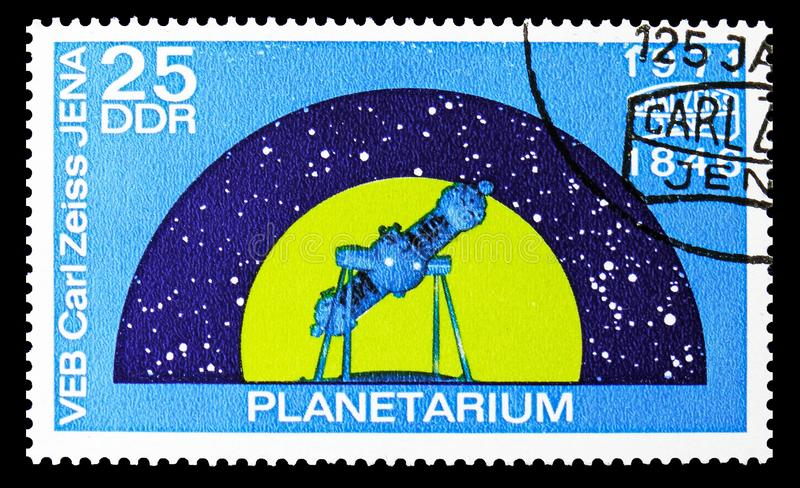 Space flight planetarium, 125 years Carl Zeiss Jena serie, circa 1971. MOSCOW, RUSSIA - SEPTEMBER 15, 2018: A stamp printed in DDR (Germany) shows Space flight royalty free illustration