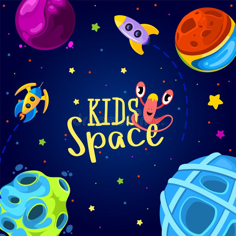 Space frame design. Vector illustration. Kids background in cartoon style. Monsters in space stock illustration