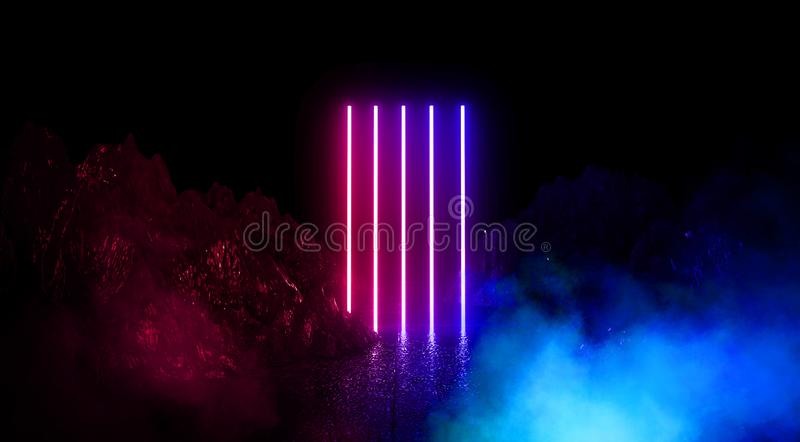 Space futuristic landscape. Fiery meteorites, sparks, smoke, light arches. Dark background with light element in the center. royalty free stock photos