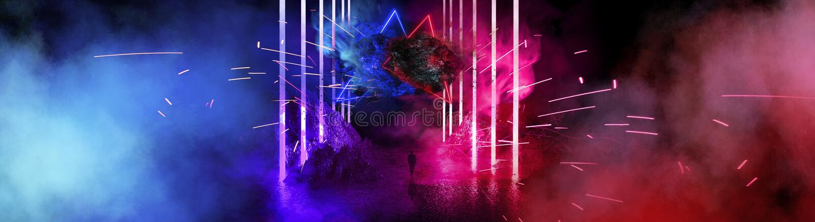 Space futuristic landscape. Fiery meteorites, sparks, smoke, light arches. Dark background with light element in the center. royalty free illustration