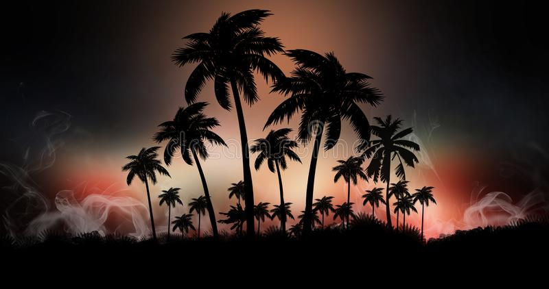 Space futuristic landscape. Neon palm tree, tropical leaves. Night landscape with palm trees, against the backdrop of a neon sunset, stars. Silhouette coconut stock illustration