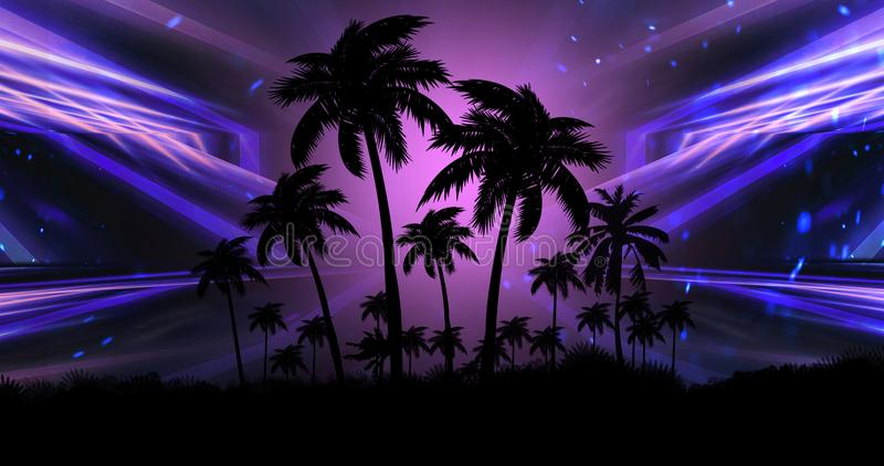 Space futuristic landscape. Neon palm tree, tropical leaves. Night landscape with palm trees, against the backdrop of a neon sunset, stars. Silhouette coconut vector illustration
