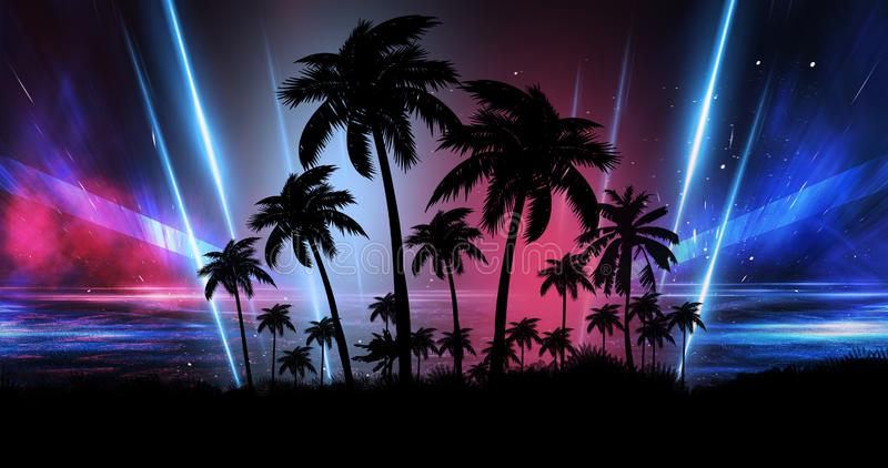 Space futuristic landscape. Neon palm tree, tropical leaves. Night landscape with palm trees, against the backdrop of a neon sunset, stars. Silhouette coconut royalty free illustration