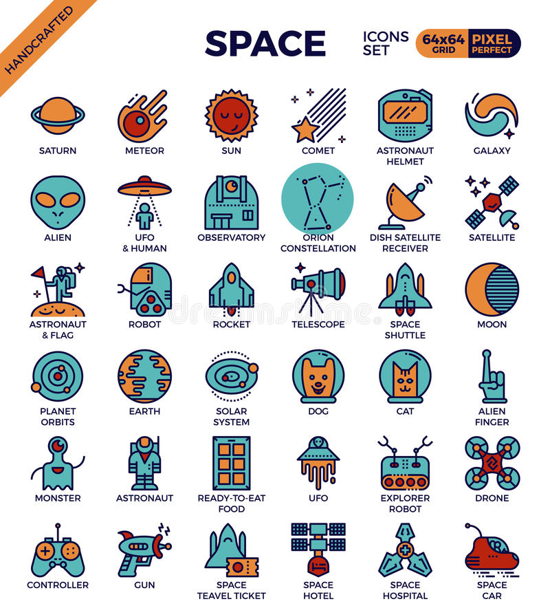 Space and galaxy icons royalty free illustration