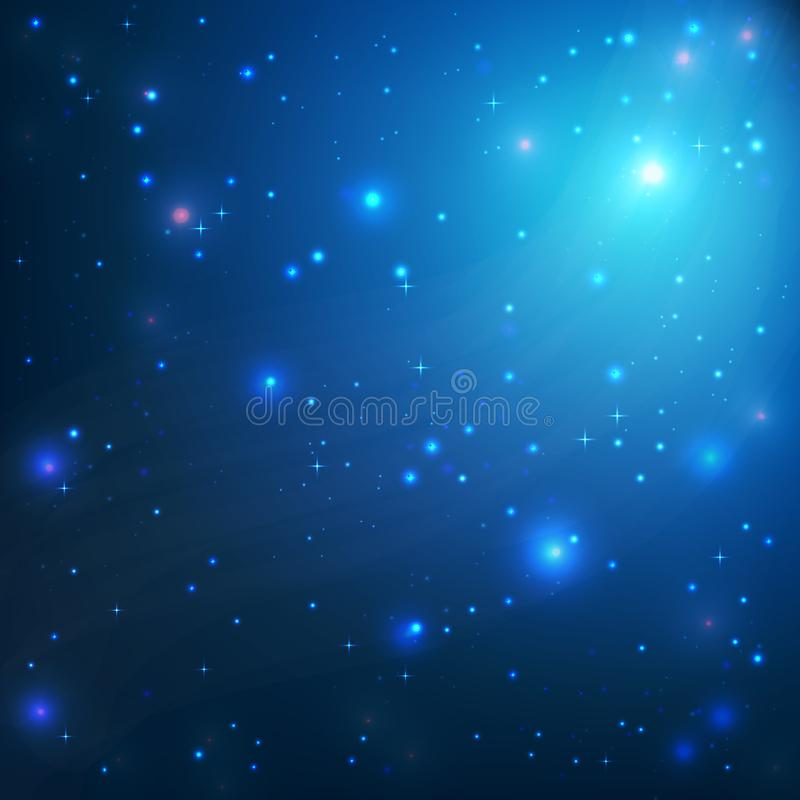 Free Space Galaxy Stars. Blue Universe Background. Star Sky At Night Stock Photo - 116668070