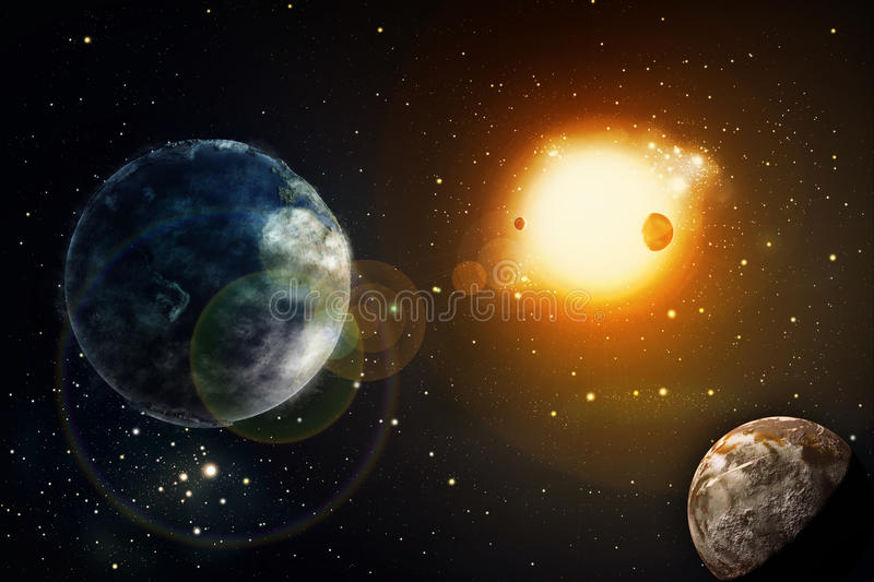 Space of galaxy with stars and planet vector illustration