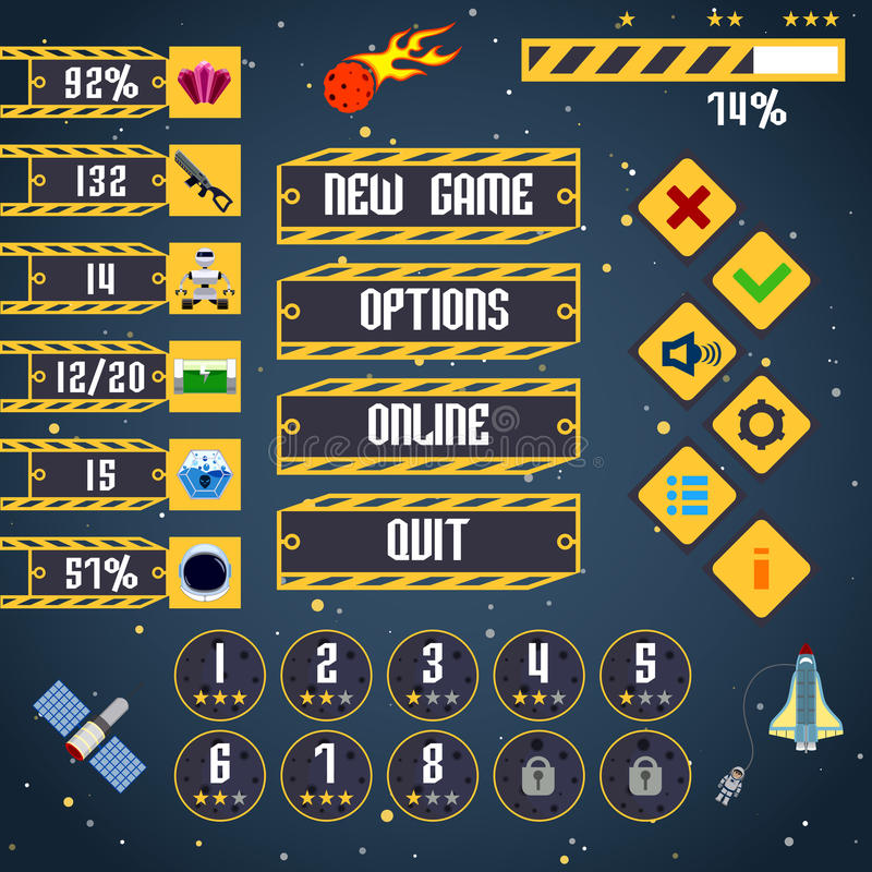 Space game interface. Space arcade adventure game menu interface layout template vector illustration vector illustration