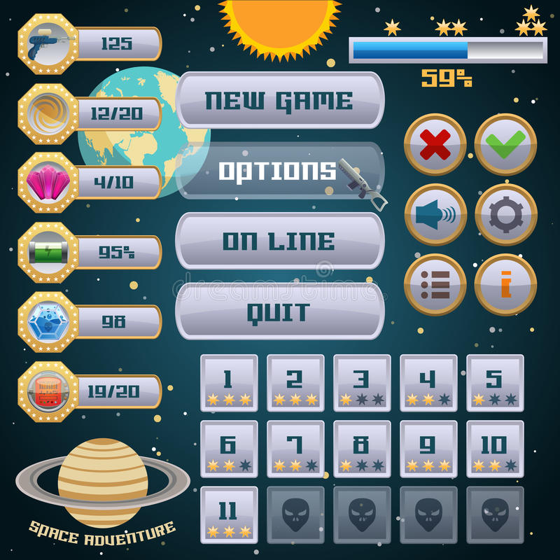 Space game interface design. Space arcade adventure game menu interface design template vector illustration royalty free illustration