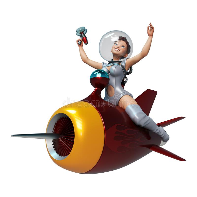 Space girl astronaut riding tha rocket stock illustration