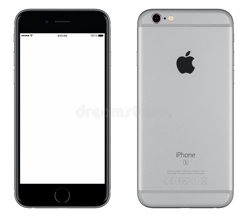 Space Gray Apple iPhone 6s mockup front view and back side. Varna, Bulgaria - October 24, 2015: Front view of Space Gray Apple iPhone 6S mockup with white screen