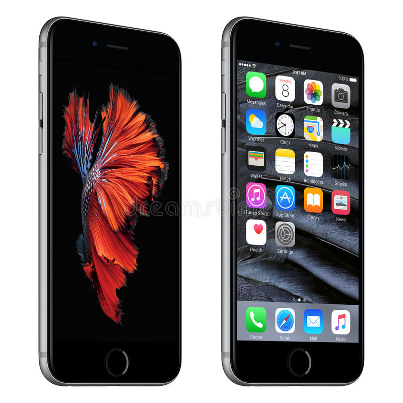 Space Gray Apple iPhone 6s slightly rotated front view with iOS. Varna, Bulgaria - October 24, 2015: Space Gray Apple iPhone 6S rotated at a slight angle bottom stock illustration