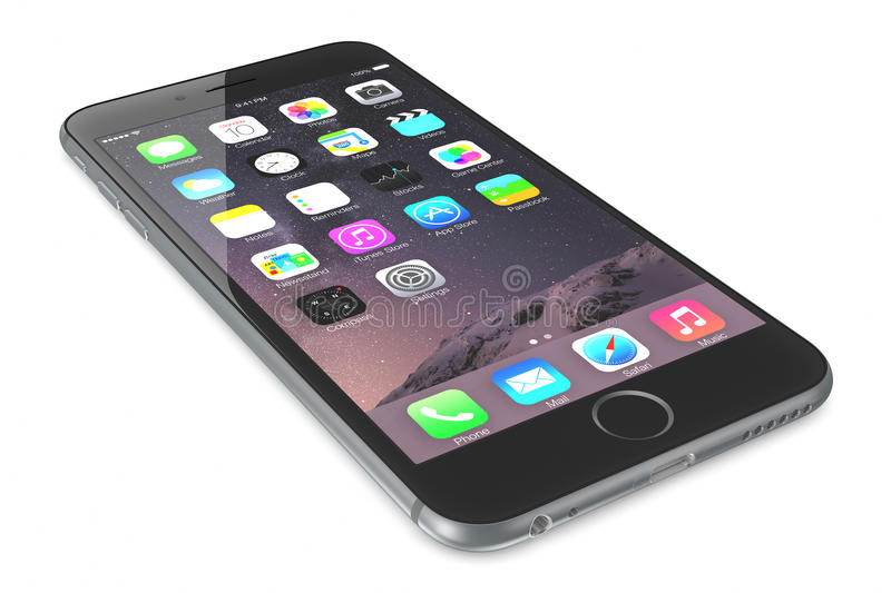 Space Gray iPhone 6. Apple Space Gray iPhone 6 Plus showing the home screen with iOS 8.The new iPhone with higher-resolution 4.7 and 5.5-inch screens, improved stock photo