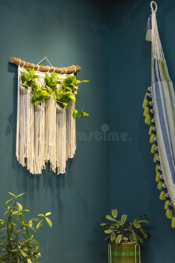 Space with hammock and macramé tapestry with hanging plants. Blue green walls. And plants in the corners stock photography