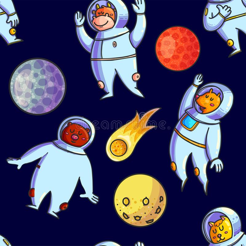 Space hand drawn vector seamless pattern royalty free illustration