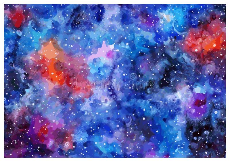 Space hand painted watercolor background. Great background. royalty free illustration