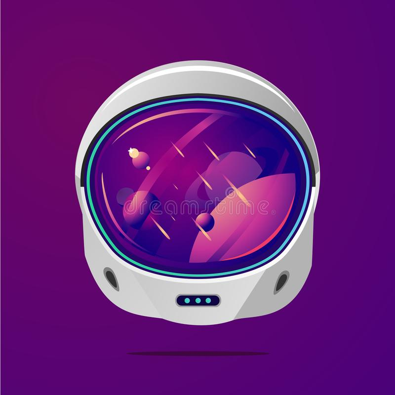 Space helmet on isolated background. Pilot mask vector clip art. Astronaut spacesuit with space on reflection. stock illustration