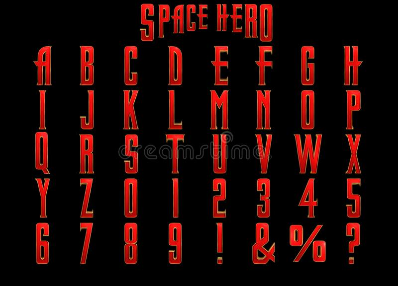 Space Hero 3D Alphabet. A bright, eye catching red art-deco 3D alphabet that would make a great graphic for any thrilling space hero royalty free illustration