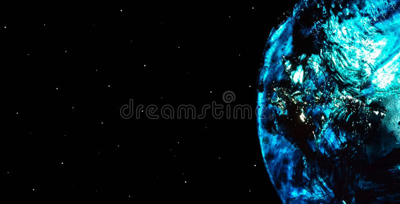 Space horizontal poster with a planet in blue and white liquid oil stains and a starry sky. Cosmos concept with copy. Space. Fluid light acrylic paint stock illustration