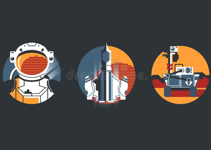 Space icon set in flat style vector illustration