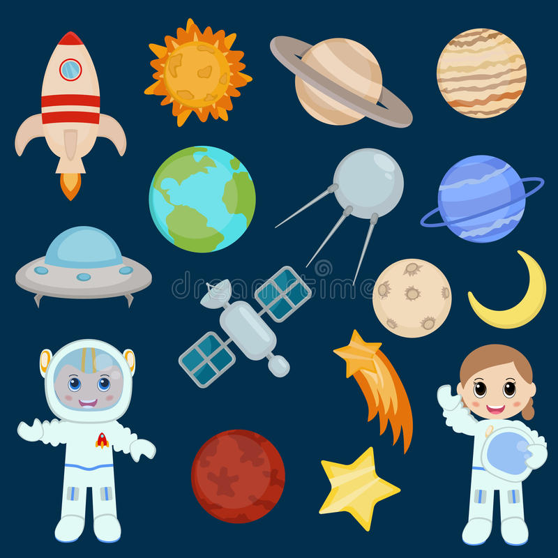 Space icon set vector illustration