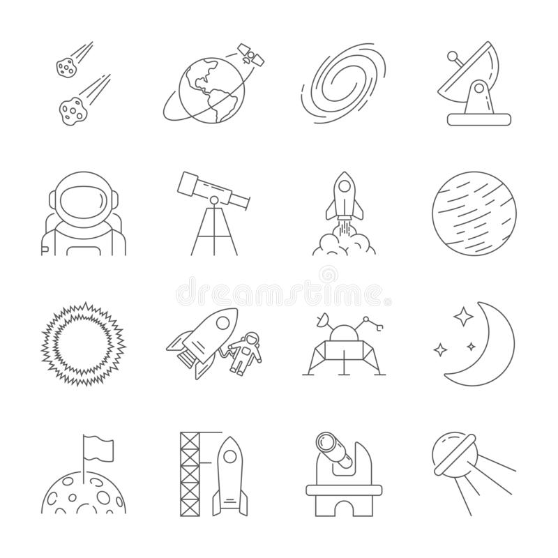 Space icons, astronomy theme, outline style. Contains moon, sun, earth, moon rover, satellite, asteroids, solar vector illustration