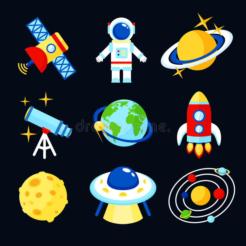 Space icons set. Space and astronomy icons set of earth rocket moon astronaut isolated vector illustration stock illustration
