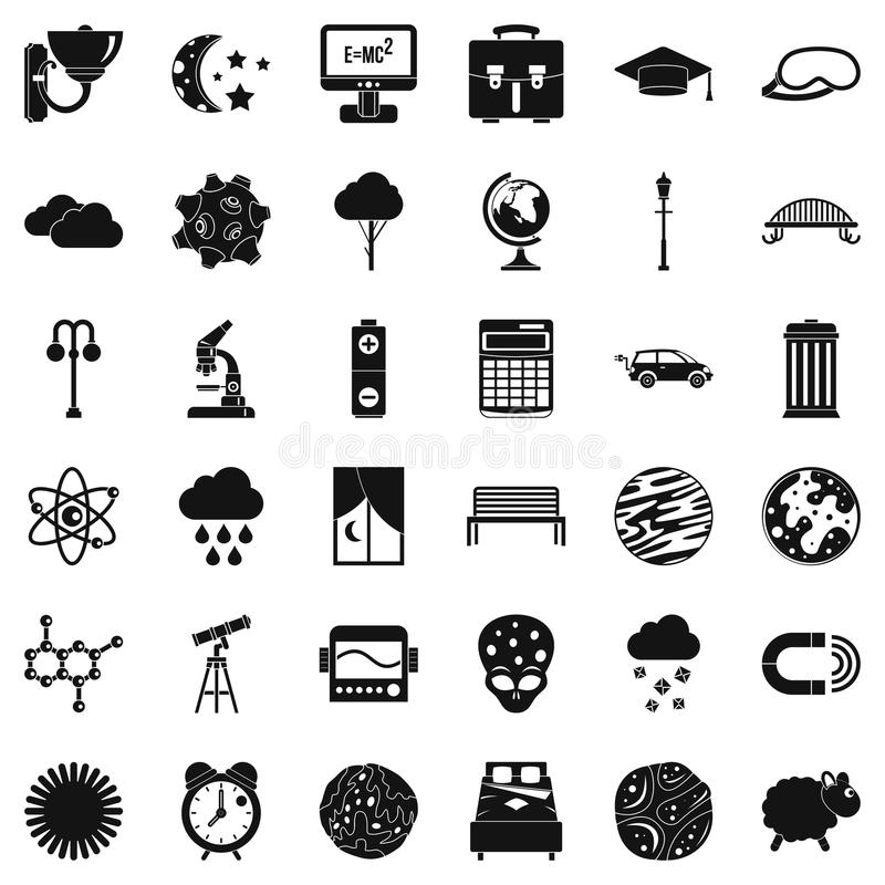 Space icons set, simple style vector illustration