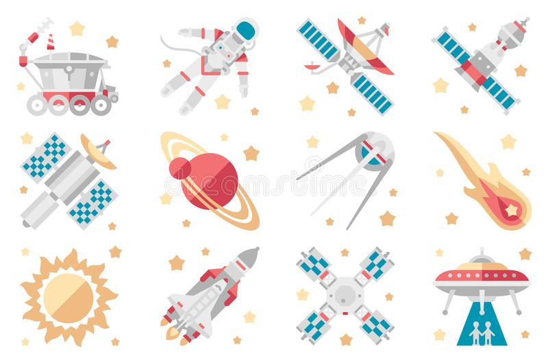 Space icons set, space shuttle, spaceship, orbital satellite, cosmic rocket, mars rover, space station, astronaut, ufo vector illustration