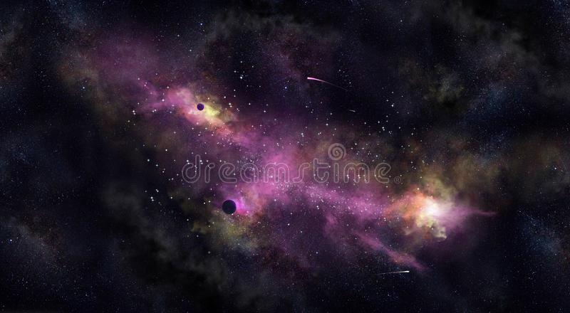 Space Iillustration, with nebula, fog and stars. Space illustration, with blue and green glow, nebula and stars. Jpeg higt resolution, all elements are draw royalty free illustration
